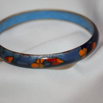 Vintage Flower Enamel Bangle Bracelet,  1960s Jewelry, Cloisonne Enamel Bangle