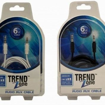 6' 3.5mm aux cable (black/with hite) Case of 12