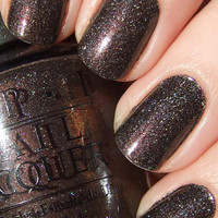 OPI Nail Polish (NL B59-My Private Jet) NEW CHARCOAL GLITTER COLOR Brights Brown