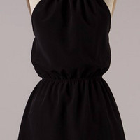 Black Halter Dress with Lace Detail