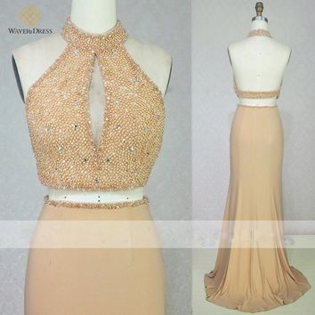 Sparkly Handwork Beaded 2 Two Pieces Long Prom Dresses Sexy Backless Party Dresses 2015 robes de soiree vestido de festa longo