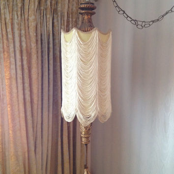 Vintage Hollywood Regency Silk Shade Swag Lamp With Gathered Draped Cord