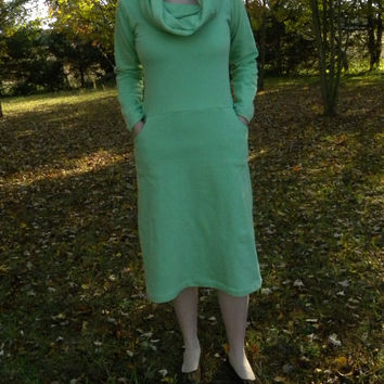 Snow Pocket Organic Cotton Sweatshirt Fleece Dress with Pockets Made in the USA - Organic Cotton Clothing