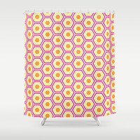 Colored Hexies Shower Curtain by dani