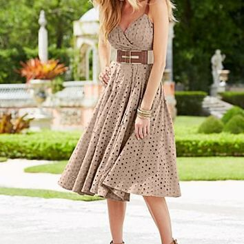 Khaki Oval eyelet dress, peep toe ankle strap heel  from VENUS