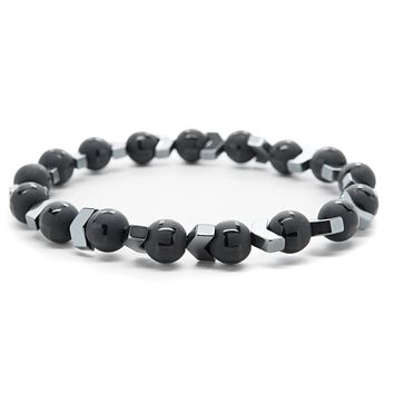 Black Onyx and Hematite Gemstones Beaded Bracelet for Men and Women