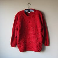 RED 80s Slouchy Beaded Holiday Sweater! Christmas Party Glam!