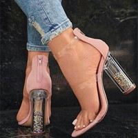 Women Fashion Zip Transparent Crystal Rough Heel Sandals Heels Shoes