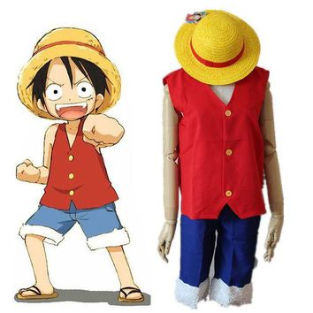 VONE05O Anime One Piece Monkey D Luffy Cosplay Costume Full Set Uniform ( Top + Shorts + Hat ) For  Adult  Halloween Costumes Size S-XXL