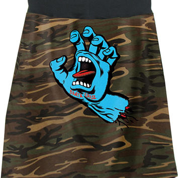 Santa Cruz Speed Wheels Camo Hand T-Shirt Skirt