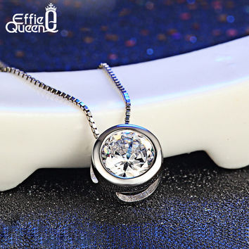 DALI Cute Little Round Pendant Necklace with Shining Austrian Zircon Platinum Plated Necklace PN74
