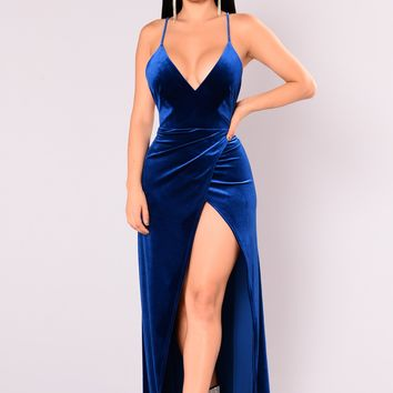Angelique Velvet Maxi Dress - Royal
