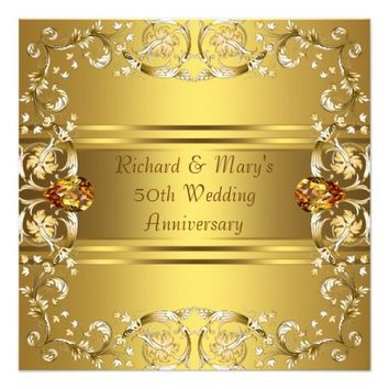 Gold Victorian Flowers Gold 50th Anniversary Custom Invitations