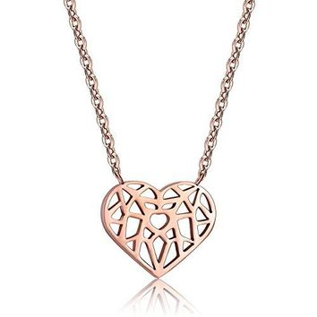 Dainty Heart Necklace - Heart Origami Pendant Necklaces for Women