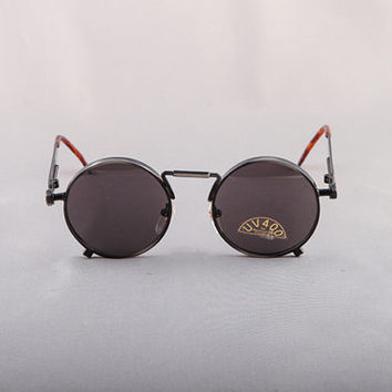 Vintage 80s Bronze Stainless Steal Jean Paul Gaultier Replica Round Circle Sunglasses Steam Punk