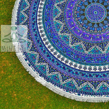 Round Beach Throw - Round Mandala - Outdoor Decor - Beach Decor - Beach Life - Boho Beach - Hippie - Picnic blanket - Rug - Tablecloth 3074