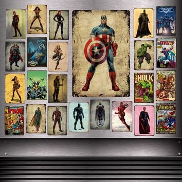 Marvel Avengers Infinity War Superhero Metal Signs The Flash Black Panther Widow Hawkeye Thor Wall Plaque Iron Poster Decor YD06