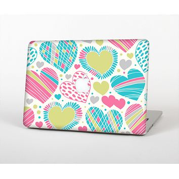 The Fun Colored Vector Pattern Hearts Skin for the Apple MacBook Pro Retina 13""