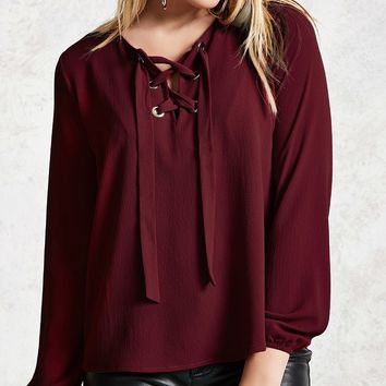Lace-Up Crepe Top