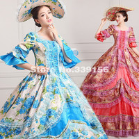 Hot Sale Green And Red Floral Vintage Renaissance Rococo Marie Antoinette Dress For Sale Ten Colors
