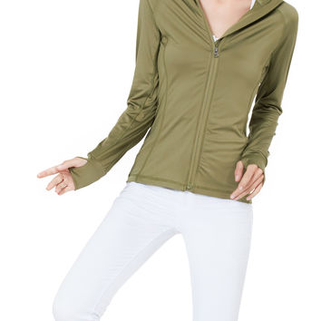 LE3NO Womens Full Zip Up Mock Neck Sports Jacket with Thumb Hole