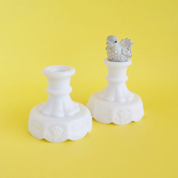 WESTMORELAND Milk Glass Candle Stick Holders Grape Cluster Set of 2