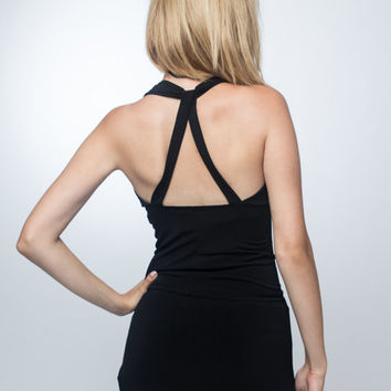Strappy open back top, black halter top, open back top, minimalist halter top, summer top, camisole top, black tunic, jersey top, tight top