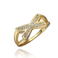 DUMAN 18K Yellow Gold Plated White X Ring Swarovski Elements Crystal, Size 8