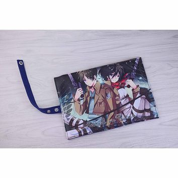 New Arrival: Anime Attack On Titan Eren Jaeger & MikasaAckerman Canvas Stationery Pouch Pencil Bag Roll Pencil Case