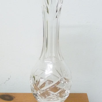 Galway Irish Crystal, Tall Bud Vase, Cut Glass Crystal, Fan and Criss Cross Pattern, Glassware, flower arrangement, arranging, homewares 02