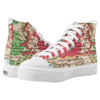 Vintage map of Europe Pattern in Coral and Mint High-Top Sneakers