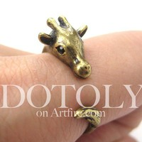 Miniature Giraffe Animal Wrap Ring in Bronze - Sizes 4 to 9 Available