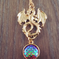 Gold tone Dragon egg scale necklace