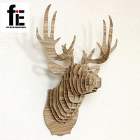 New Home Decoration Crafts Wooden Deer Head For Art Home Animals Head Wall Hanging Decoration
