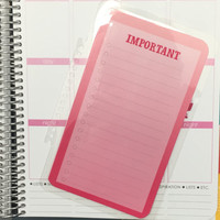 FREE SHIPPING Pink Ombre Important To Do Laminated Dashboard Insert for Erin Condren Life Planner - clips right into coils!