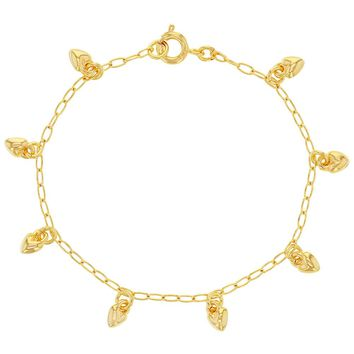 18K Gold Plated Tiny Hearts Charm Chain Girls Teens Bracelet 6""