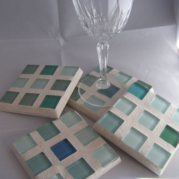 Green Glass Coasters / Teal Coaster /  Housewarming Gift / Hostess Gift /  Mosaic Coaster /  Unisex Gift