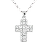 Sterling Silver Cross CZ Cubic Zirconia Charm Chain Necklace