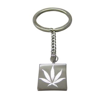 Silver Toned Etched Weed Keychain
