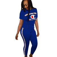 Champion Fashion New  More Letter Print Leisure Top And Pants Two Piece Suit Blue
