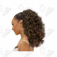African clip in dark brown afro puff kinky curly Celebrity Clip in afro kinky curly wrap drawstring ponytail hair extensions
