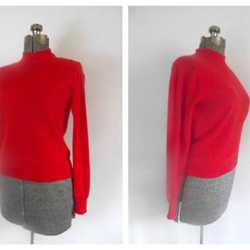 Red Cashmere Bombshell Sweater Vintage 1950s 1960s Pringle of Scotland