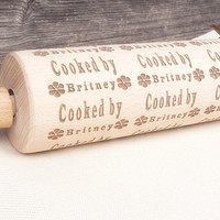 Personalized Rolling Pin- Custom Wooden Rolling Pin - Personalized Cookie - Cooked By - Personalized Cook - Wooden Rolling Pin