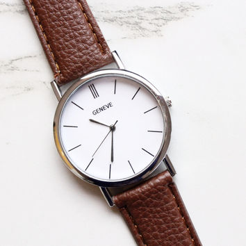 Brown Vegan Leather Watch