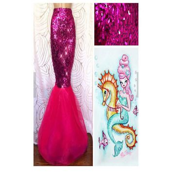Pink Sequin Stretch Spandex Mermaid Tail Skirt with Tulle Train 8893a7486
