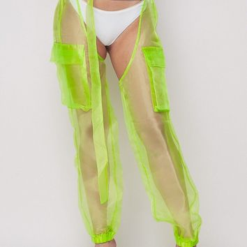 Intergalactic Organza Sheer Chaps Pants Neon Green