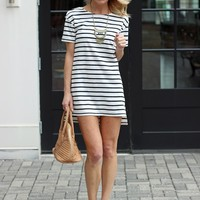 Striped T Shirt Dress-Maddox Striped Dress-$54.00 | Hand In Pocket Boutique