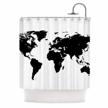 World Map - Black White Geological Digital Shower Curtain