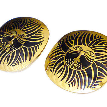 Laurel Burch Earrings Eskimo Lion Gold Tone Black Enamel Vintage Jewelry