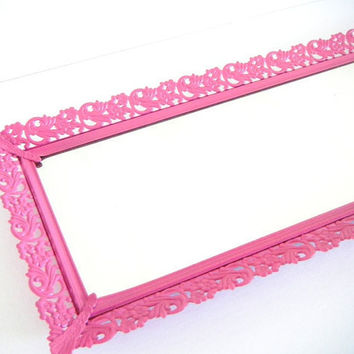 Perfume Tray Vintage Mirror Vanity Tray Bright Pink Wall Mirror Decorative Mirrors